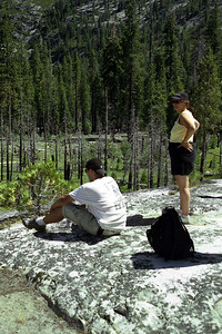 Ref:  0307Z05  July 15 2003  Yosemite National Park California - Rich Dunhoff Memorial Trip.  Little Yosemite Valley.  Rock Dome where we are about to spread Rick's ashes.  Nate and Tess Dunhoff.  Photographed and owned by Karen Page