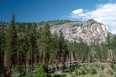 Ref: 0307M16 ... July 16 2003 ... Yosemite National Park California - Rich Dunhoff Memorial Trip - Part of panarama view from rock dome where we spread Rich's ashes in Little Yosemite Valley just north of campground. ... Photographed by Heather Page