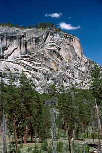 Ref: 0307K26 ... July 15 2003 ... Yosemite National Park California - Rich Dunhoff Memorial Trip - Part of panarama view from rock dome where we spread Rich's ashes in Little Yosemite Valley just north of campground. ... Photographed by Robert W Page Jr