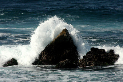 The waves crash on the rocks at Joe Point - Monterey, CA ... March 11, 2009 ... Photo by Rob Page III