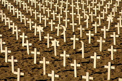 Crosses at an anti-war protest on the beach - Santa Monica, CA ... March 8, 2009 ... Photo by Rob Page III
