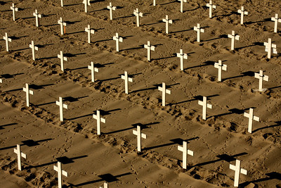 Crosses for an anti-war protest - Santa Monica, CA ... March 8, 2009 ... Photo by Rob Page III