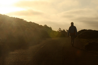 Emily walking in the evening sun - Point Reyes National Seashore, CA ... March 12, 2009 ... Photo by Rob Page III