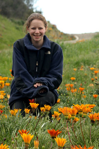 Emily enjoying the flowers - Santa Barbara, CA ... March 9, 2009 ... Photo by Rob Page III