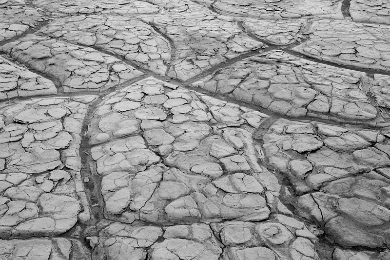 Death Valley, Patterns - Large mud tiles with smaller tiles contained, black and white