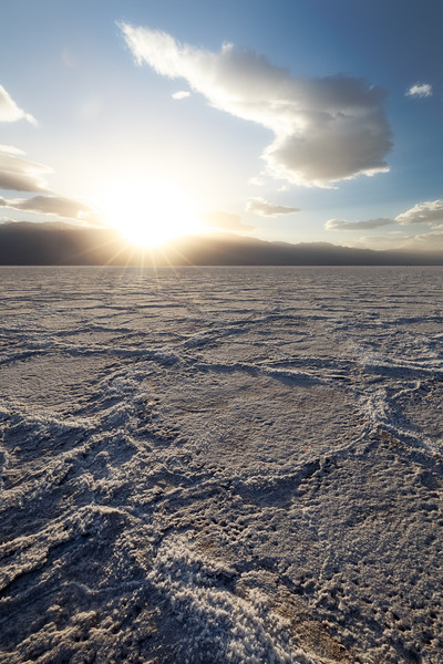 Death Valley, Badwater - Large hexagonal tiles wide angle at sunset
