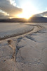 Death Valley, Badwater - Salt river in salt flat at sunrise