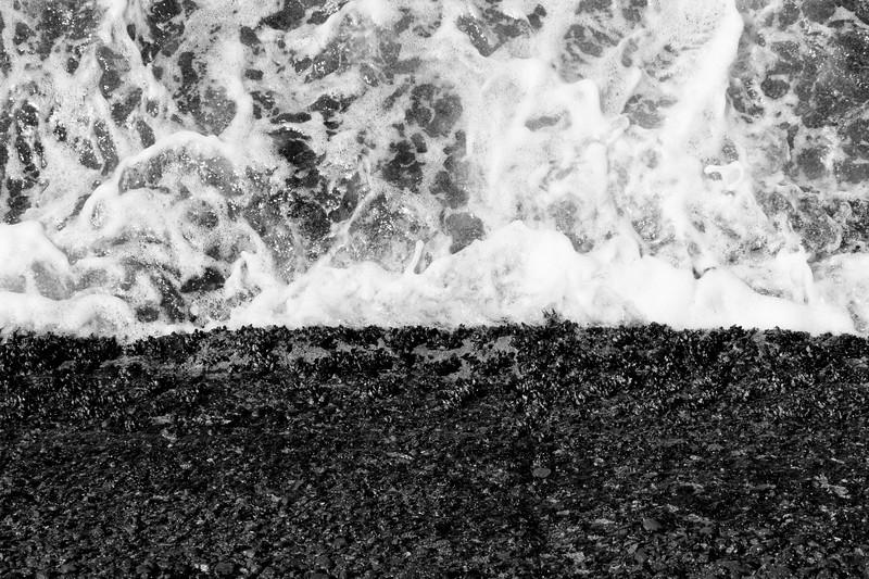 La Jolla, Beach - Top down view of waves crashing into seawall