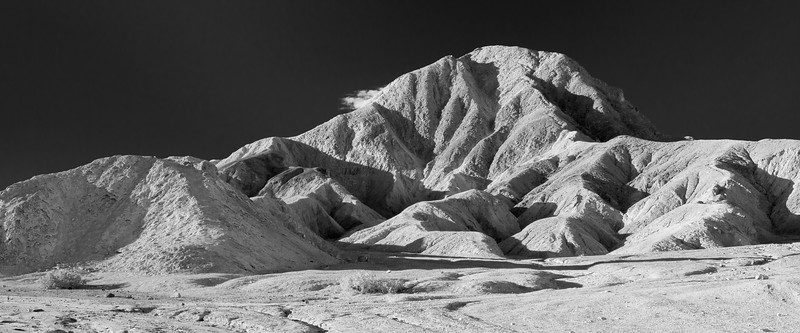 Death Valley, 20 Mule - Eroded badlands in high contrast black and white moonscape