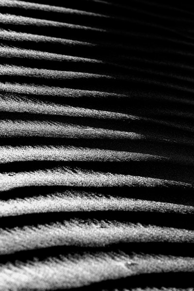Death Valley, Mesquite Flat - Dune texture closeup with left-right patterns, black and white