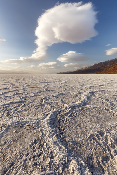 Death Valley, Badwater - Large hexagonal tiles before sunset with clouds