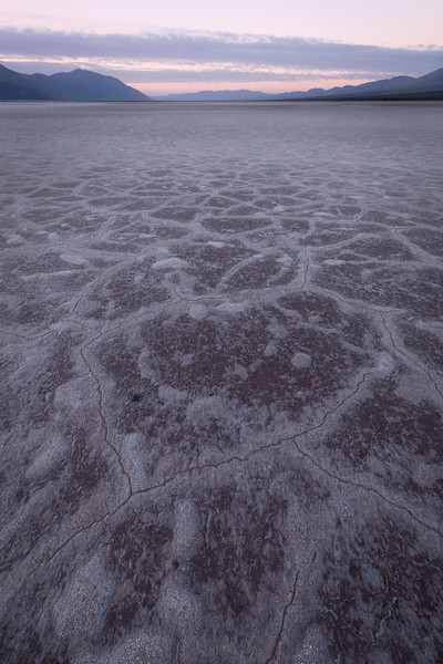 Death Valley, Badwater - Brown and white tiles at sunrise