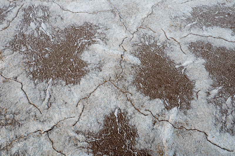 Death Valley, Patterns - Brown mud ovals with white salt ridges, above