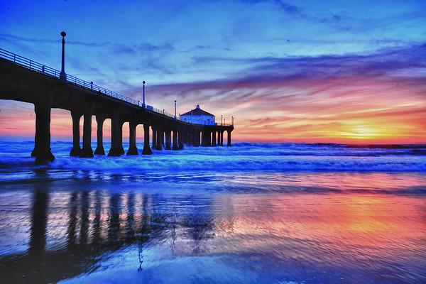 Blue Huntington Beach Pier -vivid canvass