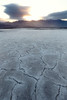 Death Valley, Badwater - Irregularly shaped white tiles at sunrise