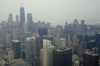 Chicago, from the Sears Tower, with the Hancock Building in the background - Chicago, IL ... September 22, 2006 ... Photo by Rob Page III
