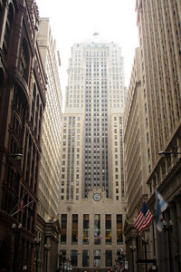 The Chicago Board of Trade rises above LaSalle Street - Chicago, IL ... September 22, 2006 ... Photo by Rob Page III