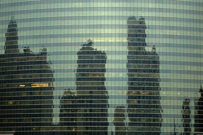 Other buildings reflect off of the glass facade of the 333 West Wacker Building - Chicago, IL ... September 22, 2006 ... Photo by Rob Page III