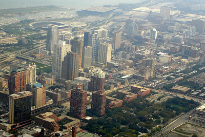 Chicago, from the top of the Sears Tower, with the recently rebuilt Soldier Field near the waterfront - Chicago, IL ... September 22, 2006 ... Photo by Rob Page III