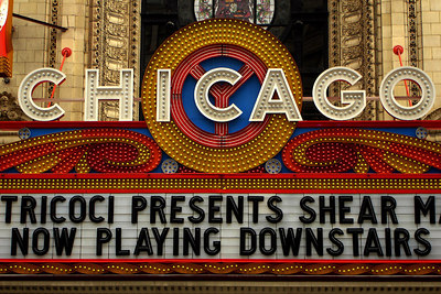 The Chicago Theatre.  Designed in the classical revival-French Baroque style by architects Cornelius W. Rapp and George L. Rapp, the building was built in 1921, at a cost of $4 million dollars, at 175 North State Street.  It opened on October 21, 1921 - Chicago, IL ... September 22, 2006 ... Photo by Rob Page III