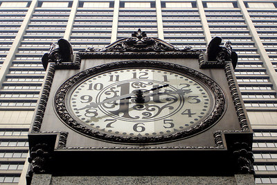 This is the First National Bank Clock in front of the 850 ft Chase Tower - Chicago, IL ... September 22, 2006 ... Photo by Rob Page III