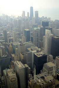 Chicago, from the top of the Sears Tower, with the Hancock Building in the background - Chicago, IL ... September 22, 2006 ... Photo by Rob Page III