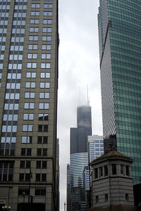 The Sears Tower peaks out from between 225 West Wacker and 333 West Wacker - Chicago, IL ... September 23, 2006 ... Photo by Rob Page III