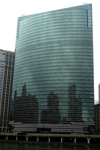 333 West Wacker.  Constructed in 1983, it rises 487 feet.  It is one of the most popular glass skyscrapers in the world - Chicago, IL ... September 23, 2006 ... Photo by Emily Conger