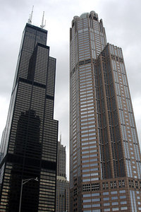 The Sears Tower and 311 South Wacker Drive.  311 South Wacker Drive is a 961 foot skyscraper built in 1990 that is dwarfed by the Sears Tower rising 1,451 feet befind it - Chicago, IL ... September 23, 2006 ... Photo by Rob Page III