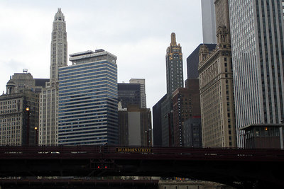 The tower of 75 East Wacker rises as a cylinder above the Chicago River - Chicago, IL ... September 23, 2006 ... Photo by Rob Page III
