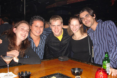 Hanging out at a bar in the Gold Coast. (l-r) California girl, Carlos, Rob, Emily, Sammy - Chicago, IL ... September 23, 2006 ... Photo by bartender