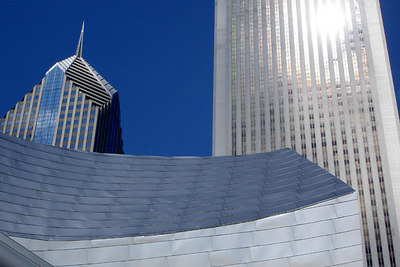 The Aon Center and Two Prudential Plaza rise behind one of the angles of the Pritzker Pavillion - Chicago, IL ... September 24, 2006 ... Photo by Rob Page III