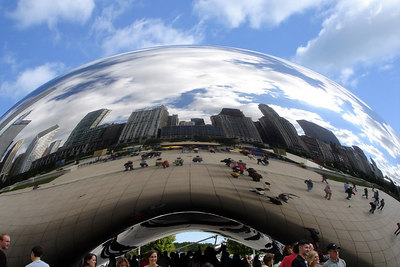 The city reflects pff the Cloud Gate - Chicago, IL ... September 24, 2006 ... Photo by Rob Page III