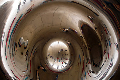 The multiple reflections inside the omphalos of the Cloud Gate - Chicago, IL ... September 24, 2006 ... Photo by Rob Page III