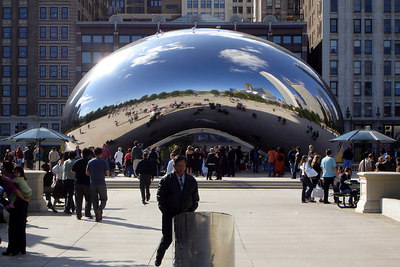 The city reflects off of Cloud Gate - Chicago, IL ... September 24, 2006 ... Photo by Rob Page III