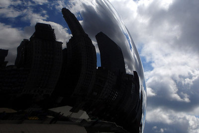 The city reflects off the Cloud Gate - Chicago, IL ... September 24, 2006 ... Photo by Rob Page III