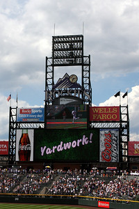 The scoreboard lights up after Garrett Atkins hits a home run - Denver, CO ... September 21, 2008 ... Photo by Rob Page III