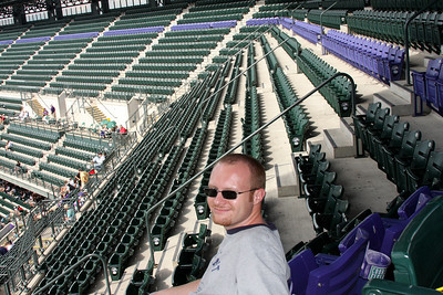 Jon relaxes in the mile high seats - Denver, CO ... September 21, 2008 ... Photo by Rob Page III