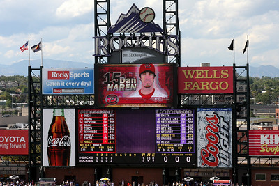 The scoreboard - Denver, CO ... September 21, 2008 ... Photo by Rob Page III