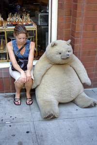 Emily, consoling the big teddy bear - Denver, CO ... July 13, 2006 ... Photo by Rob Page III