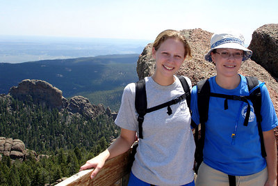 Jen and Emily enjoying Devil's Head - San Isabel National Forest, CO ... July 14, 2006 ... Photo by Rob Page III