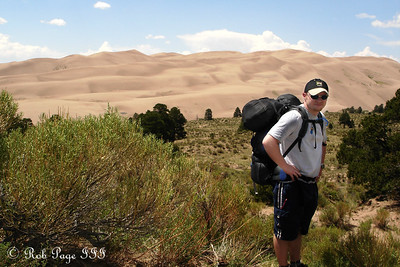 Jon, hiking through the sand - Great Sand Dunes National Park, CO ... July 15, 2006 ... Photo by Rob Page III
