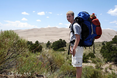 Rob, hiking through the sand - Great Sand Dunes National Park, CO ... July 15, 2006 ... Photo by Emily Conger