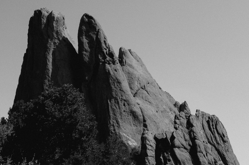 Colorado Springs, Garden of the Gods - Black and white of rock pillars as seen from the scenic drive