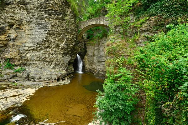The bridge and waterfall