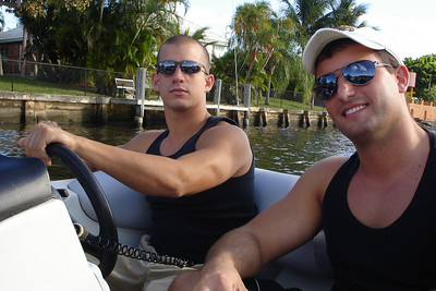 Cliff and Aaron out on the boat - Boca Raton, FL ... March 1, 2008 ... Photo by Rob Page III