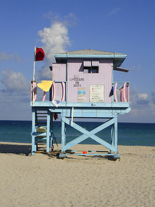 8th St. Lifeguard stand - Miami Beach, FL ... September 18, 2005 ... Photo by Rob Page III