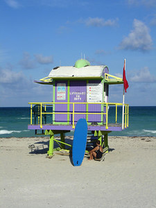 12th St. Lifeguard stand - Miami Beach, FL ... September 18, 2005 ... Photo by Rob Page III