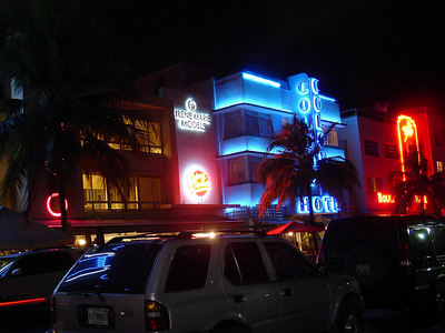 South Beach at night - Miami Beach, FL ... September 18, 2005 ... Photo by Rob Page III