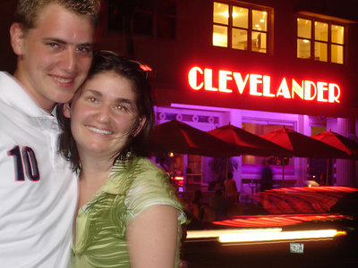 Rob and Liora in front of the Clevelander - Miami Beach, FL ... September 18, 2005 ... Photo by Rob Page III